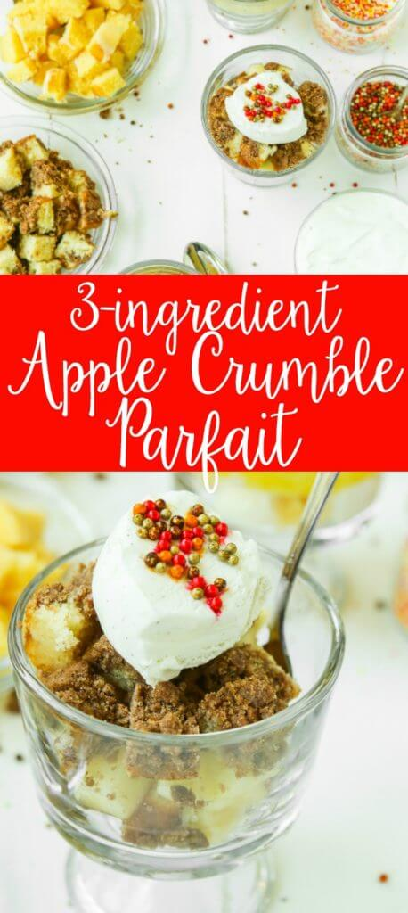 These easy parfaits may not be healthy or great for breakfast, but they are sure delicious! The perfect desserts to make with your kids. Just cut up fruit, cake loaves, and set out some mason jars for a fun parfait bar. I can't wait to try the apple crumble one with my son.