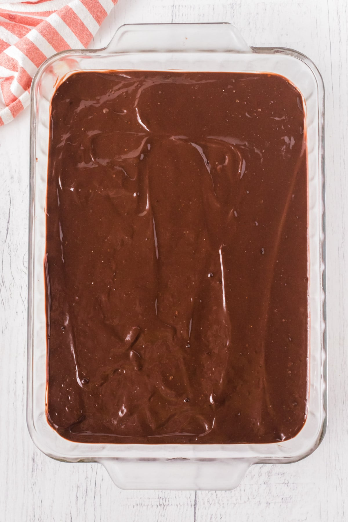 Chocolate pudding layer in striped delight