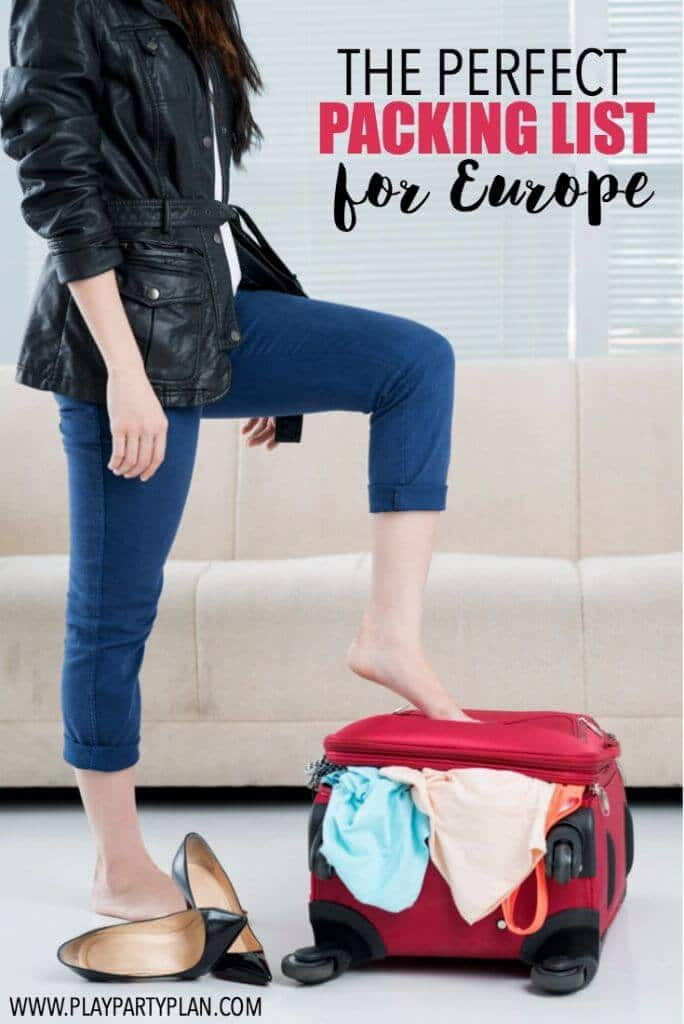The ultimate packing list for a trip to Europe with everything you really need and things that you can probably leave at home. Don't start packing without it!