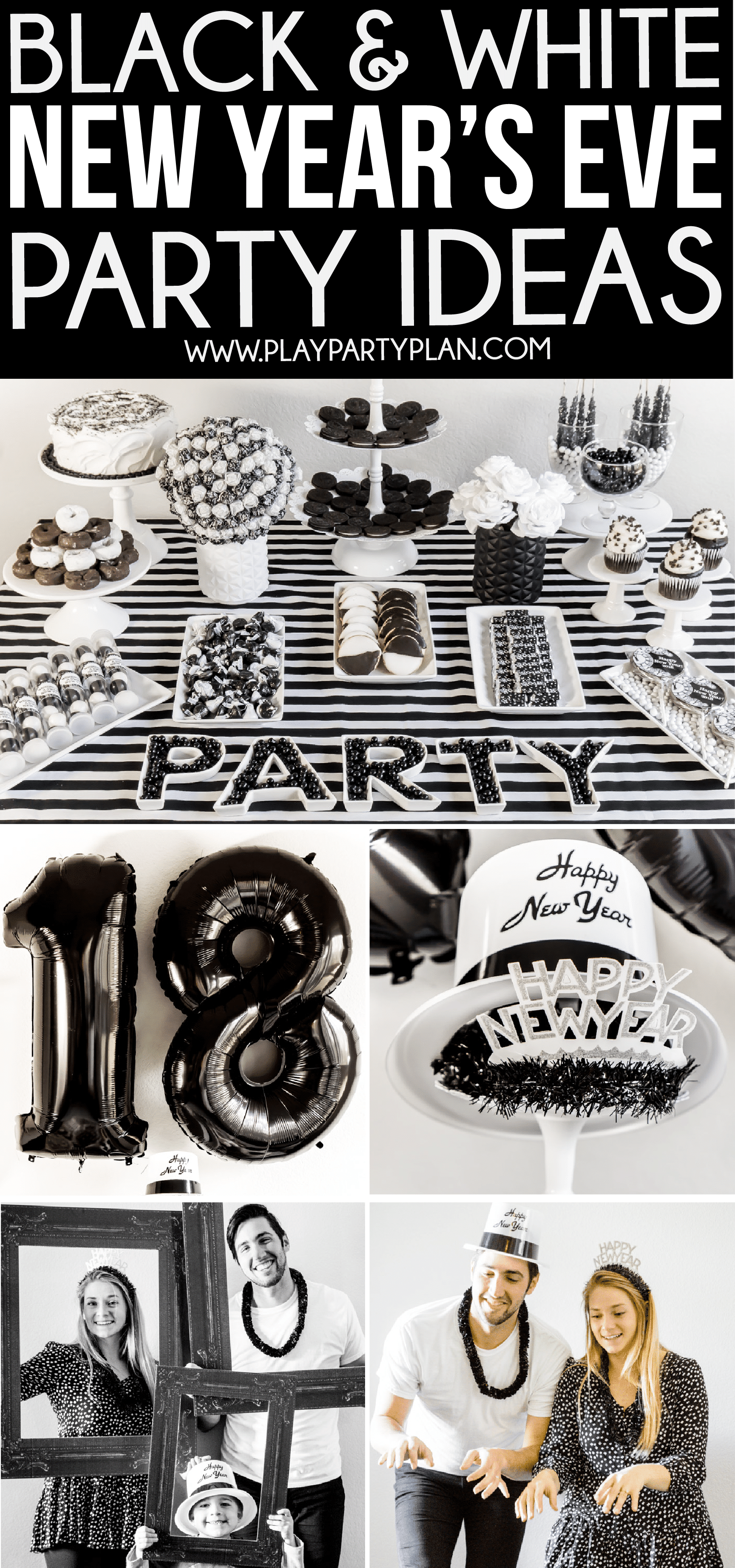 Great black and white party ideas for New Year's Eve