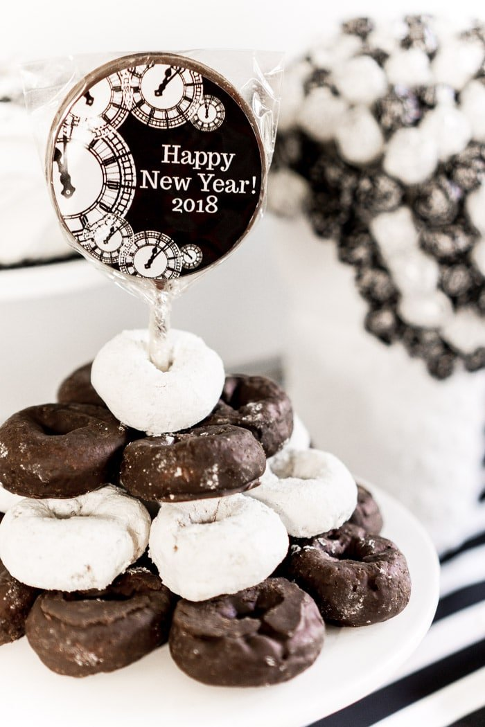 Black and white donuts for New Year' Eve