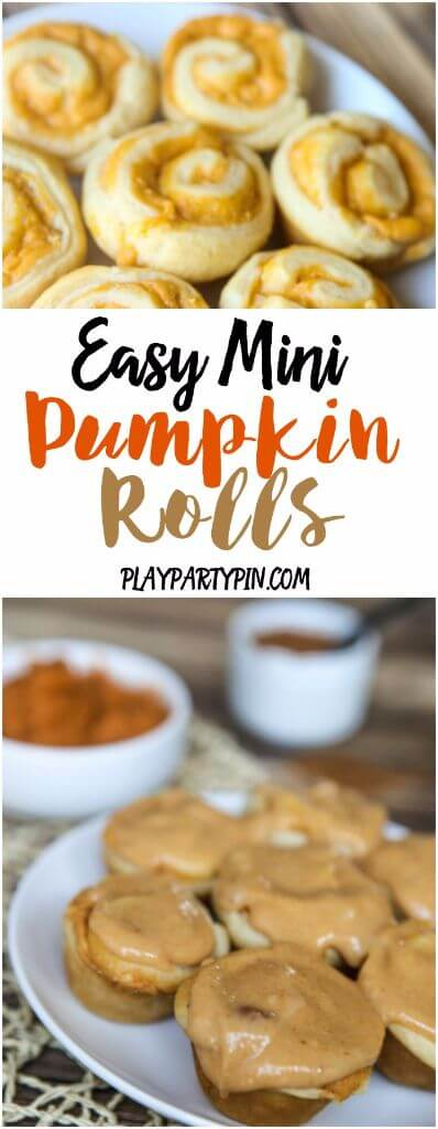 Make these easy mini pumpkin rolls in just a few minutes by using refrigerated crescent rolls and a few extra ingredients. One of the best fall desserts and perfect for a fall brunch food!
