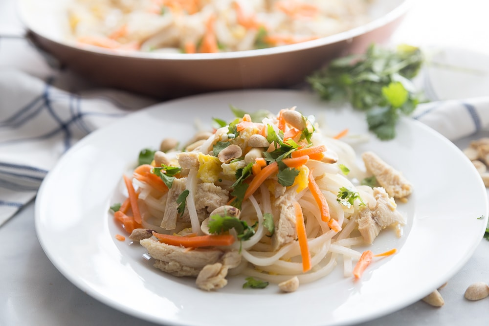 A plate of chicken Pad Thai made with an easy Pad Thai recipe
