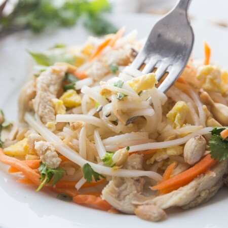 A bowl of the best chicken pad thai recipe