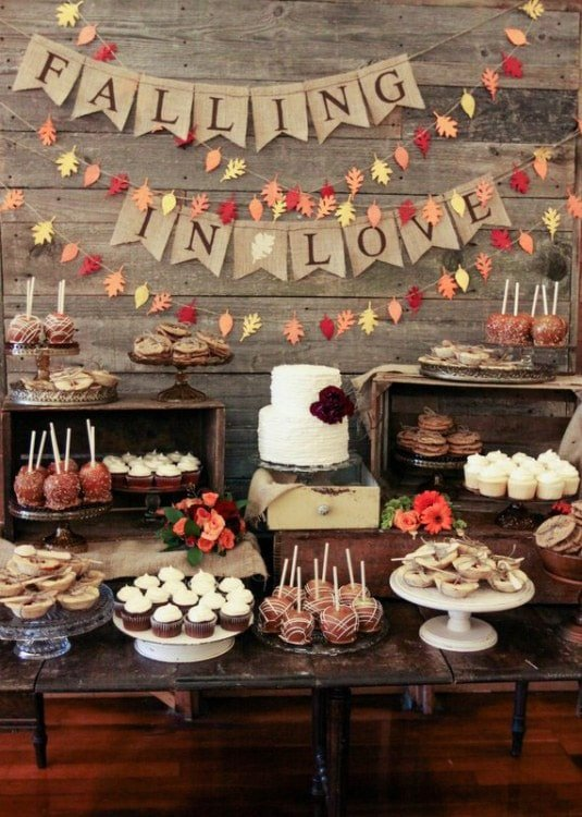A dessert table showcasing tons of fall party ideas