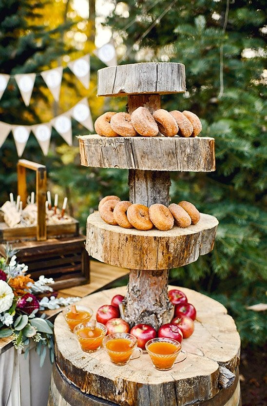 Serve apple cider donuts as fall party food