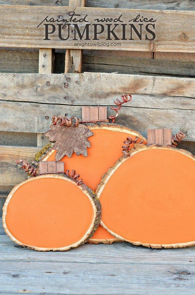 Making pumpkin wood slices is more fun than fall party games