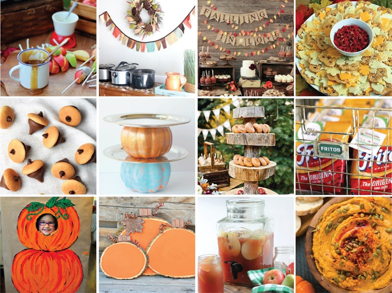 A collage of great fall party ideas