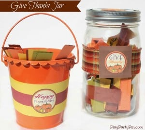 Give Thanks Jar with Free Printables from playpartyplan.com #Thanksgiving #crafts