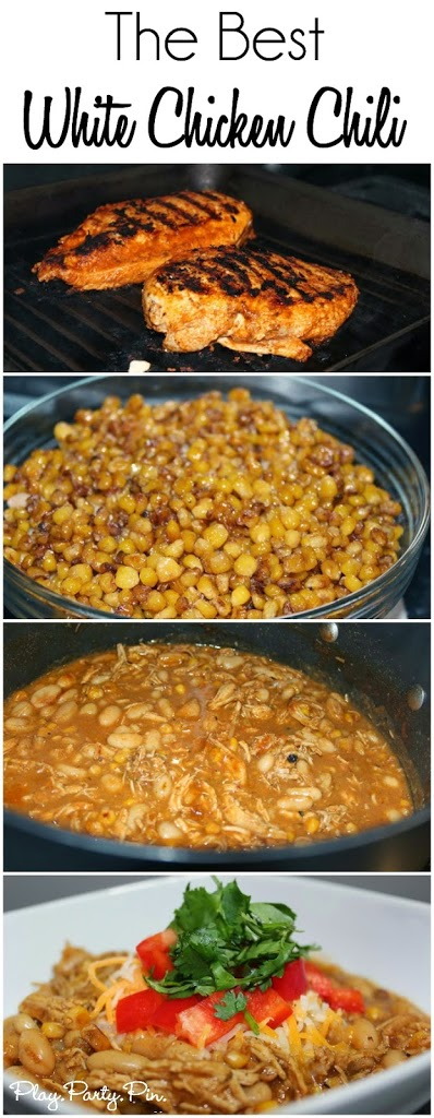 The absolute best white bean chicken chili recipe from playpartyplan.com, love the addition of grilled chicken and caramelized corn