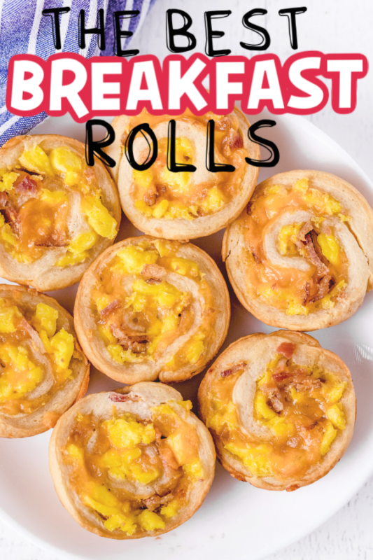 Stacked plate of breakfast rolls