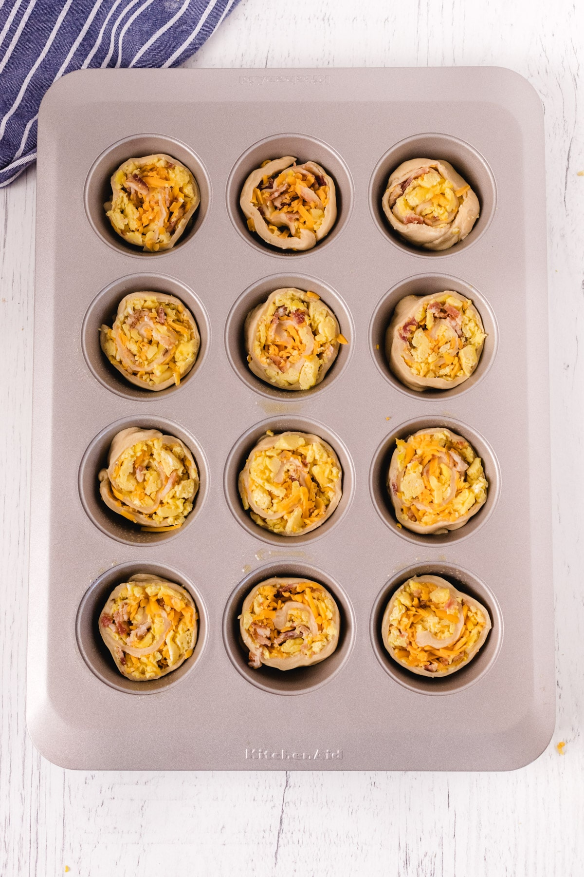 Breakfast rolls in a muffin tin