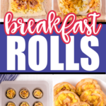 Four pictures of making breakfast rolls