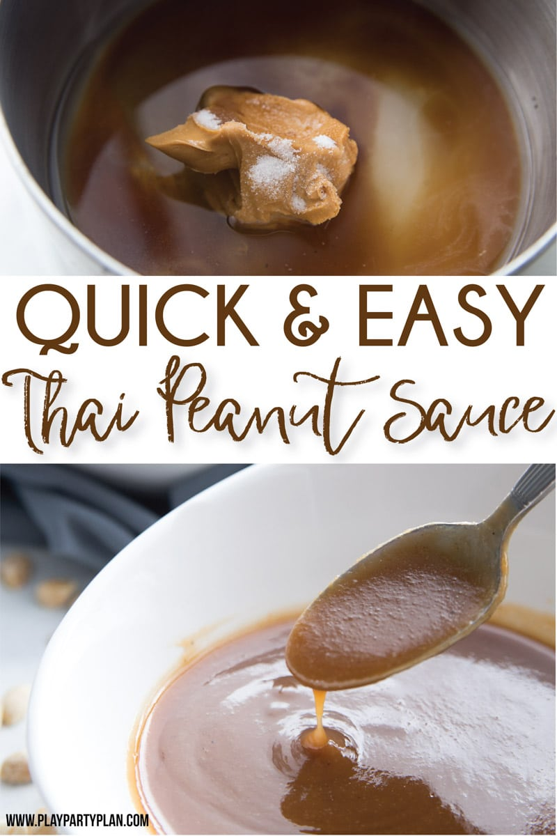 The best peanut sauce for springs rolls! An easy Thai peanut sauce recipe that's great on noodles, on satay chicken, on Vietnamese noodle bowls, and more! So yummy!