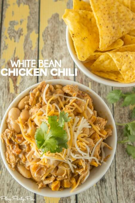 This white bean chicken chili looks amazing! I love the addition of the caramelized corn and white beans.