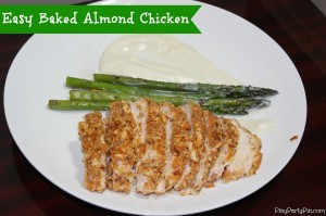 Easy baked almond chicken by playpartyplan.com