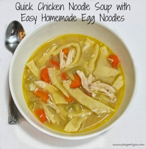 Easy chicken soup with homemade egg noodles by playpartyplan.com