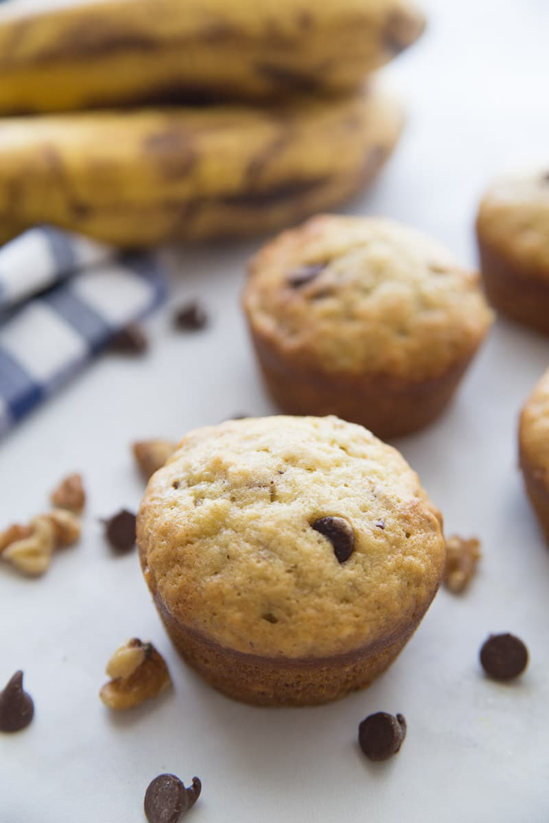 Banana chocolate chip muffins with a napkin