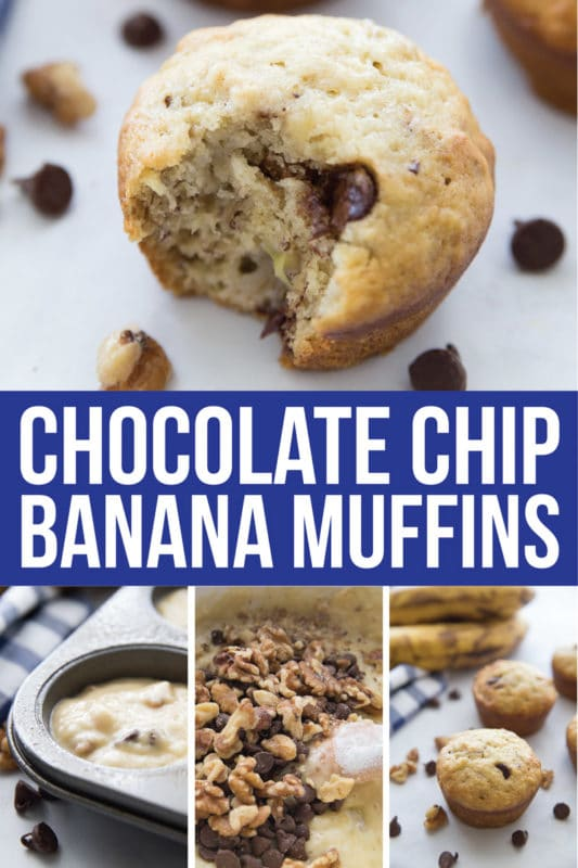 Easy banana chocolate chip muffins that are delicious