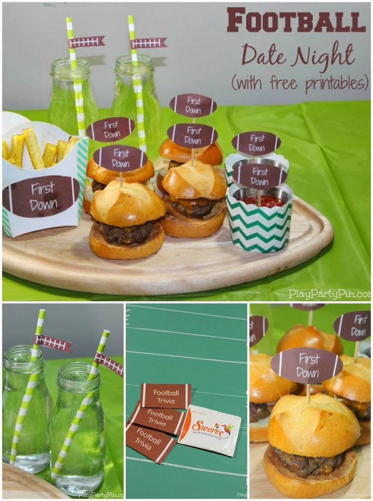 Football date night or party idea from playpartypin.com with free printables