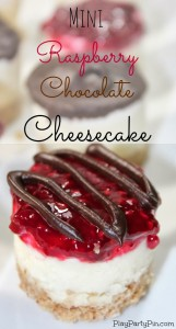 #sponsored Mini raspberry and chocolate cheesecakes from playpartypin.com #holidayhelper #dessert #easy #cheesecake #frozen