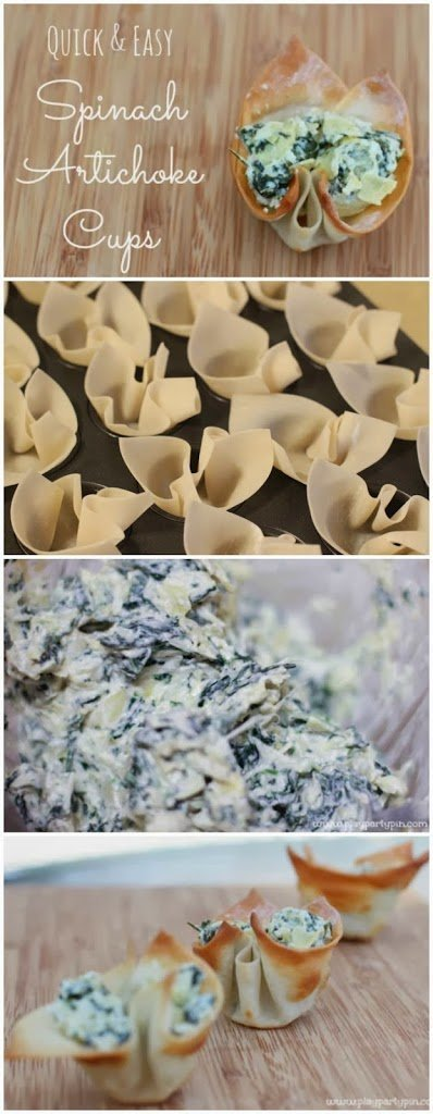 Simple spinach artichoke dip cups made from wonton wrappers, recipe from playpartyplan.com