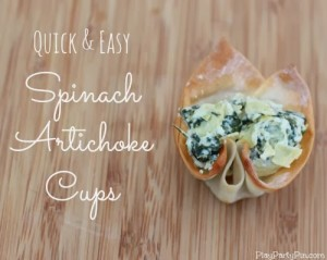 Quick and easy spinach artichoke cups