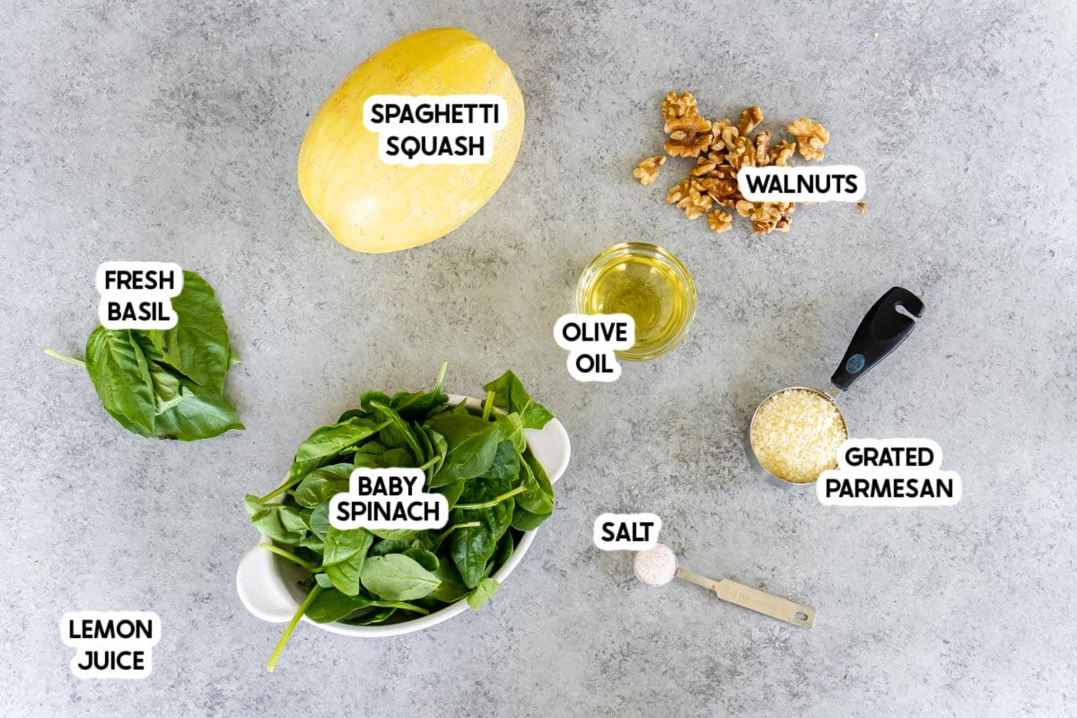 Ingredients needed to make spaghetti squash pesto dinner