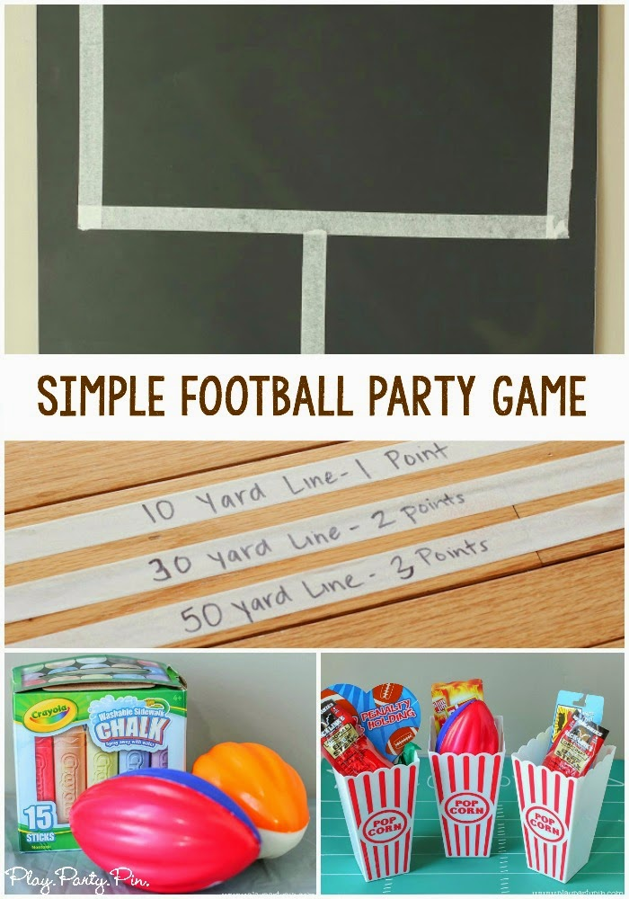 Super easy and fun football party game idea from playpartyplan.com