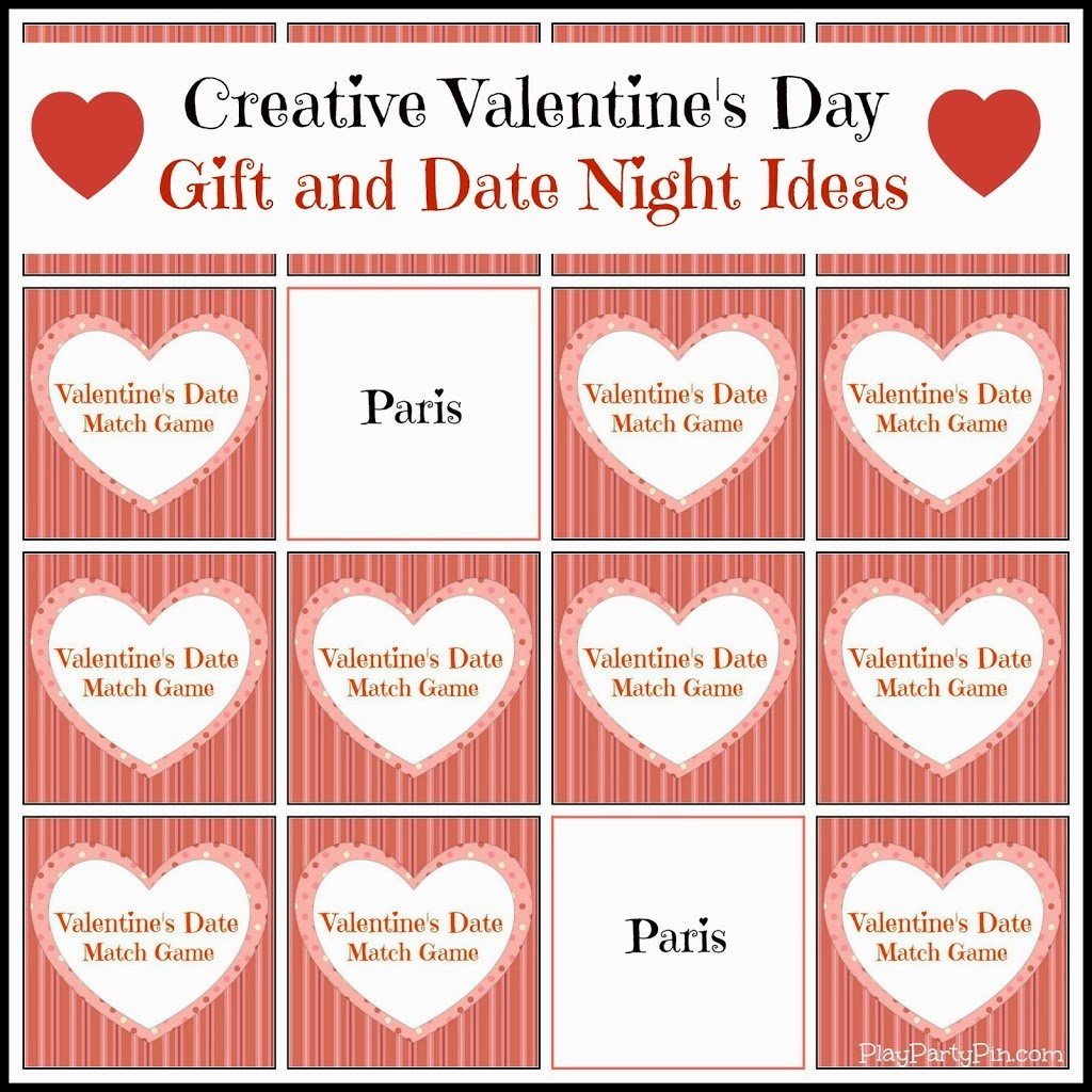 Valentine's Day Date Ideas and Match Game - Play.Party.Plan