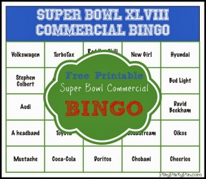 Super Bowl Commercial Bingo and more great Super Bowl party ideas