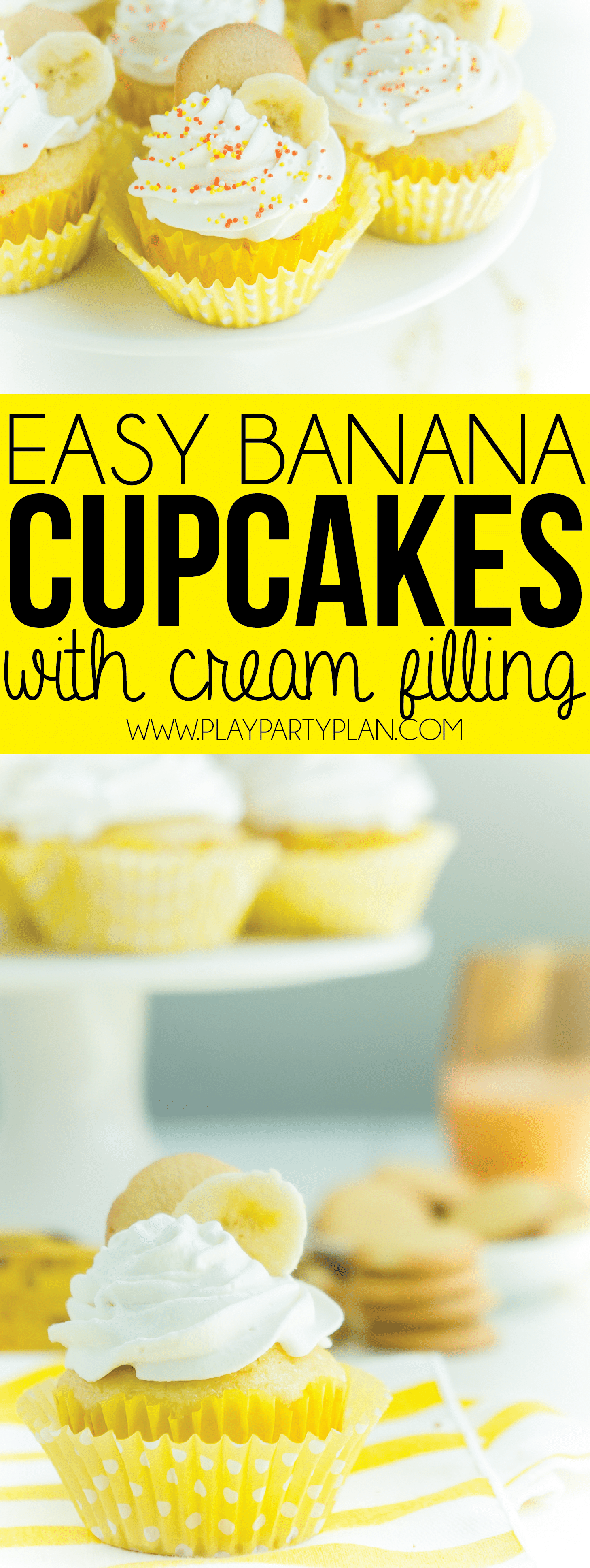 These easy banana cupcakes can either be made with cake mix or from scratch! This is the best recipe made with a pudding filling that keeps it moist and fluffy! Definitely one of the best homemade banana cupcakes for kids ever!