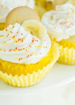Easy banana pudding cupcakes with sprinkles on top
