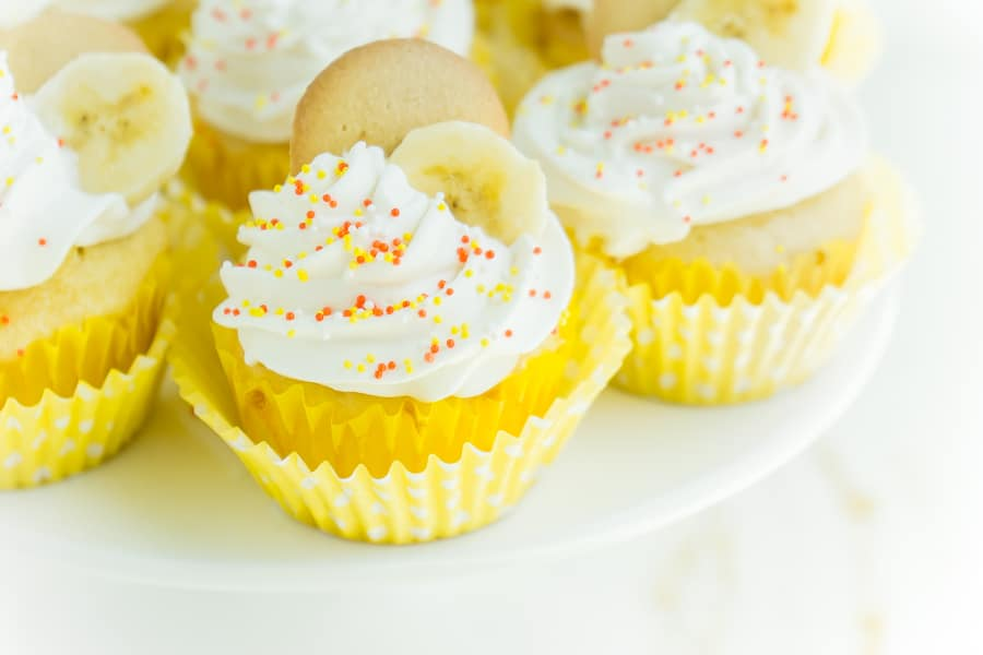 banana pudding cupcakes with sprinkles on top