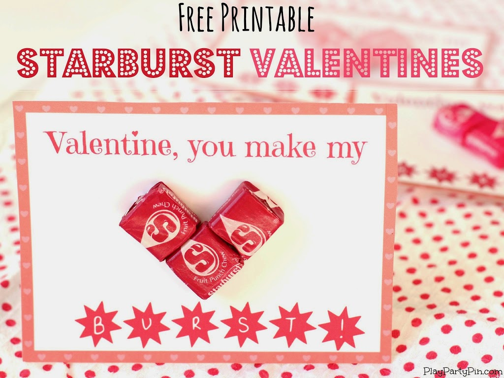 Free printable Starburst Valentines from playpartyplan.com #valentines #freeprintables #candy #valentinesday #crafts