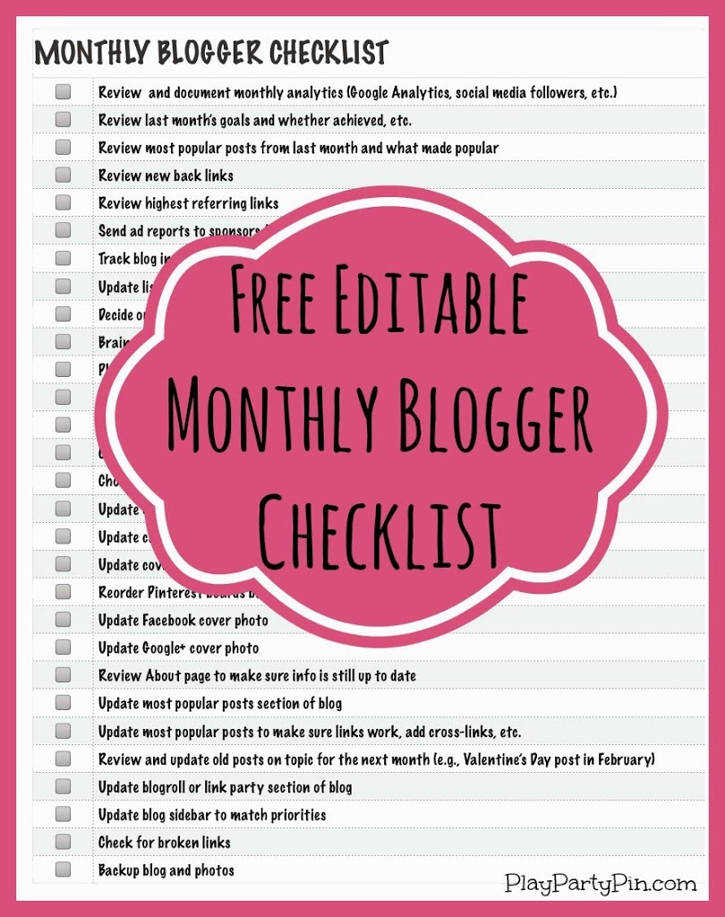 Free monthly blogger checklist that is printable and fully editable from playpartyplan.com #blogging #freeprintable #checklist
