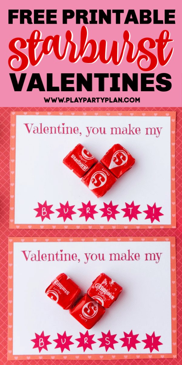 Free printable Starburst valentines! The perfect way to give someone a sweet treat for Valentine's Day!