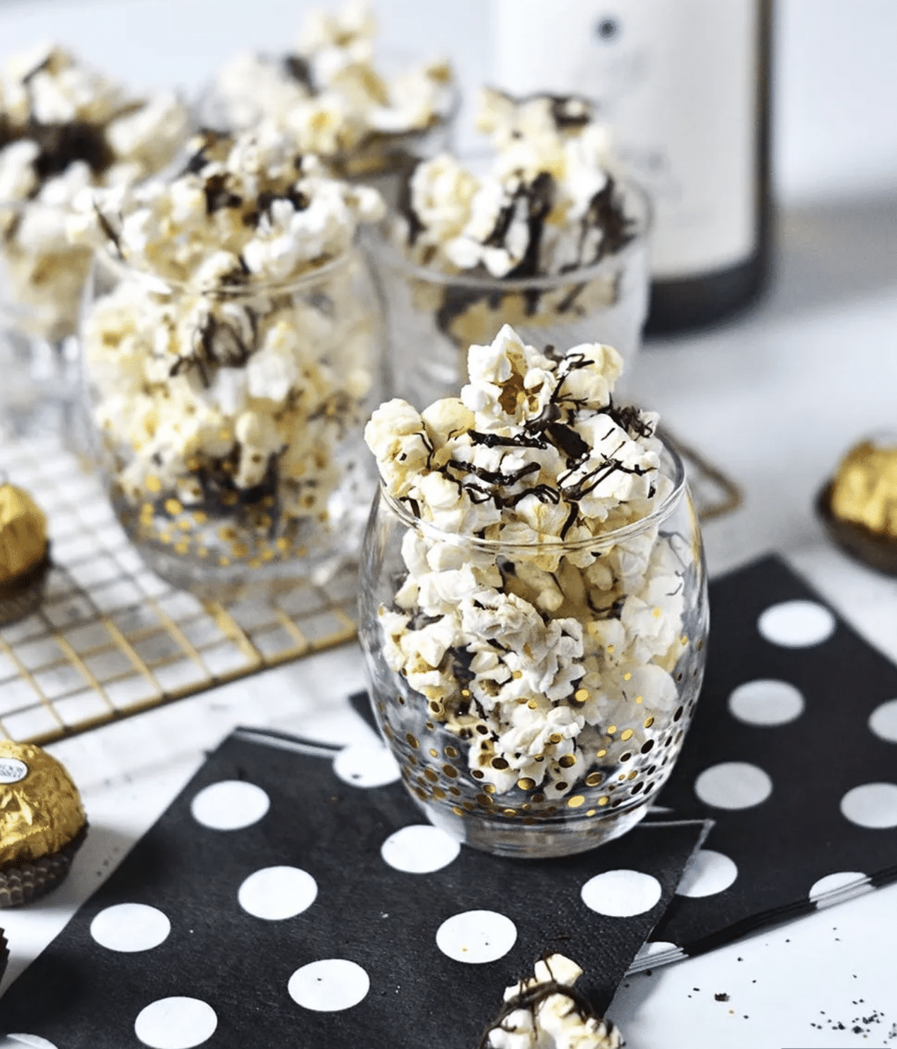 Black and white popcorn makes delicious Oscar party food