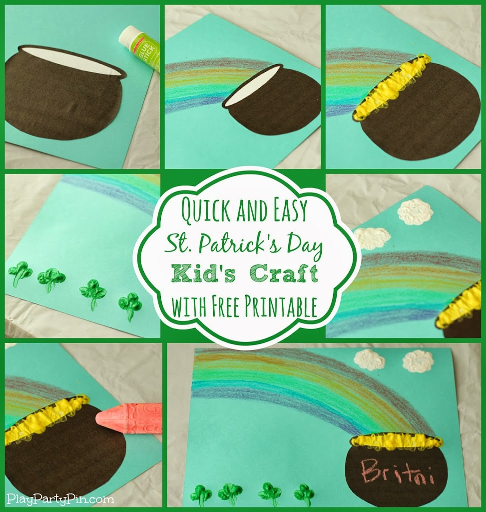St patricks day preschool crafts - Quick And Easy St Patrick S Day Craft For Kids With Free Printable Colorfulcreations