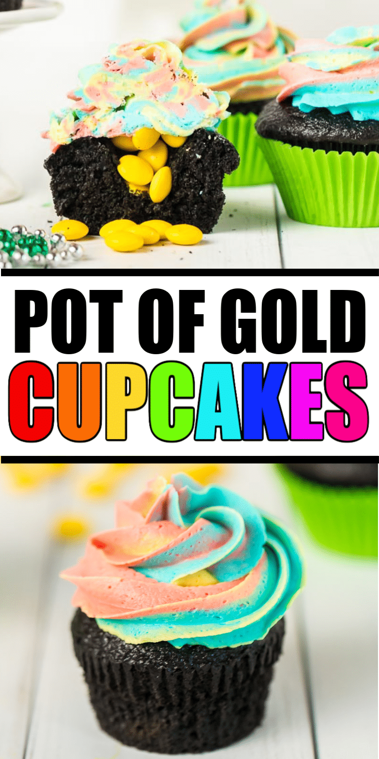 These St. Patrick's Day cupcakes are perfect for kids  and classroom parties! Black pot of gold cupcakes filled with gold and topped with rainbow frosting make these delicious and cute!