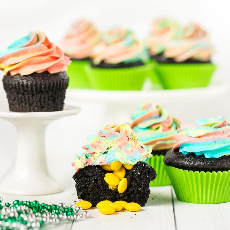 St Patrick's Day cupcakes on cake stands