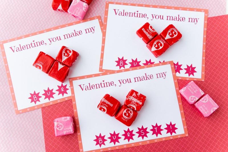Stack of Starburst valentines