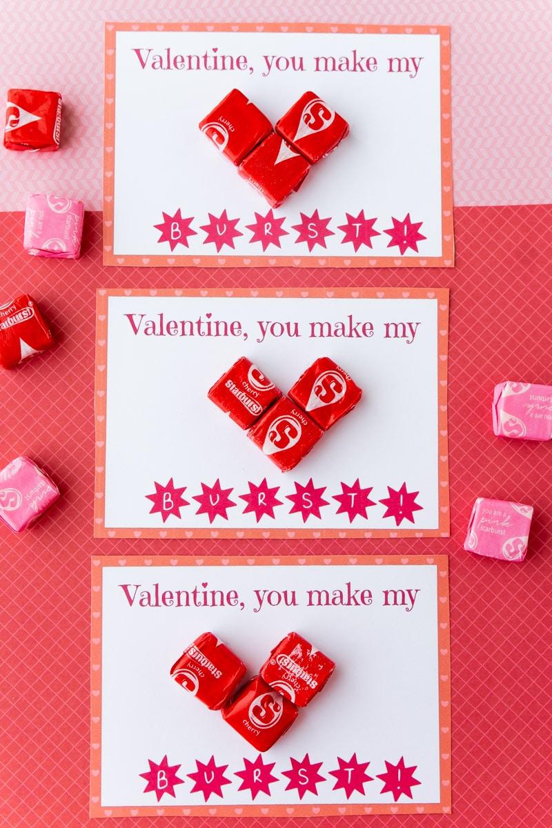 Three Starburst valentines