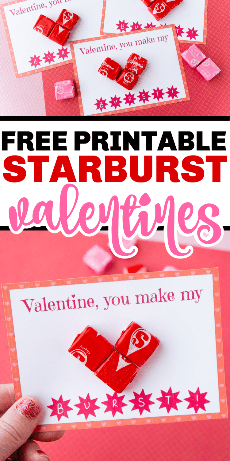 Free printable Starburst valentines! The perfect way to give someone a sweet treat for Valentine's Day! via @playpartyplan
