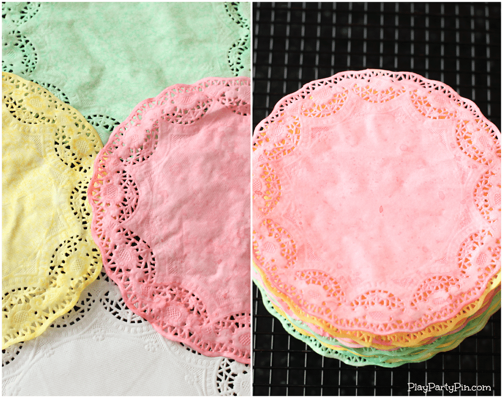 How to hand dye paper doilies from playpartyplan.com #tutorial #tips #babyshower #decorations