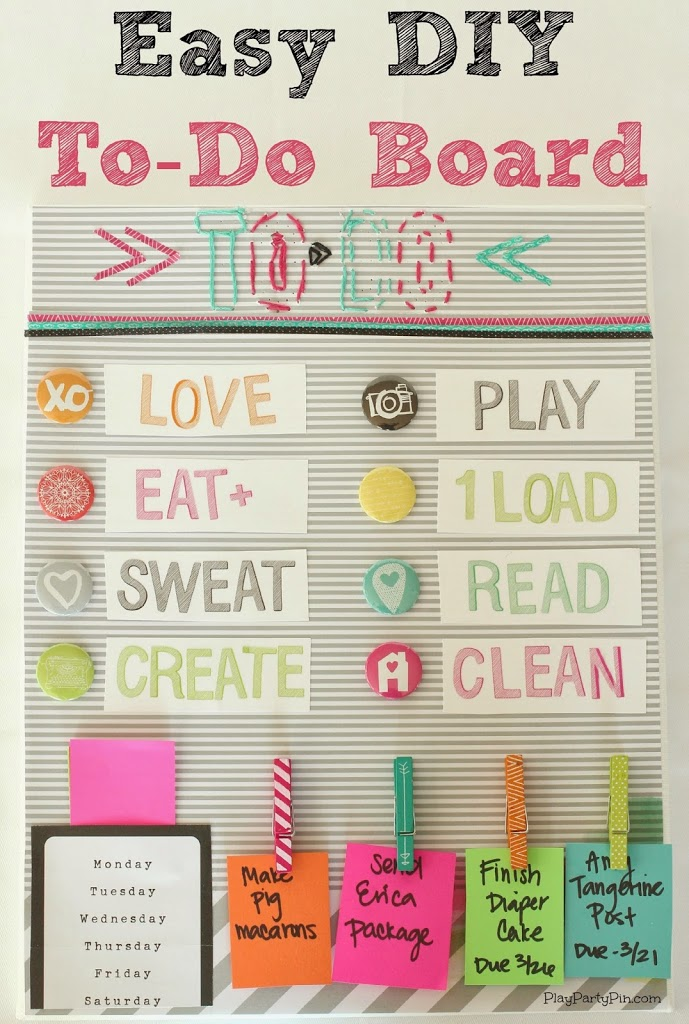 Easy DIY To-Do Board using #AmyTangerine Plus One collection from playpartyplan.com #DIY #crafts #organizing