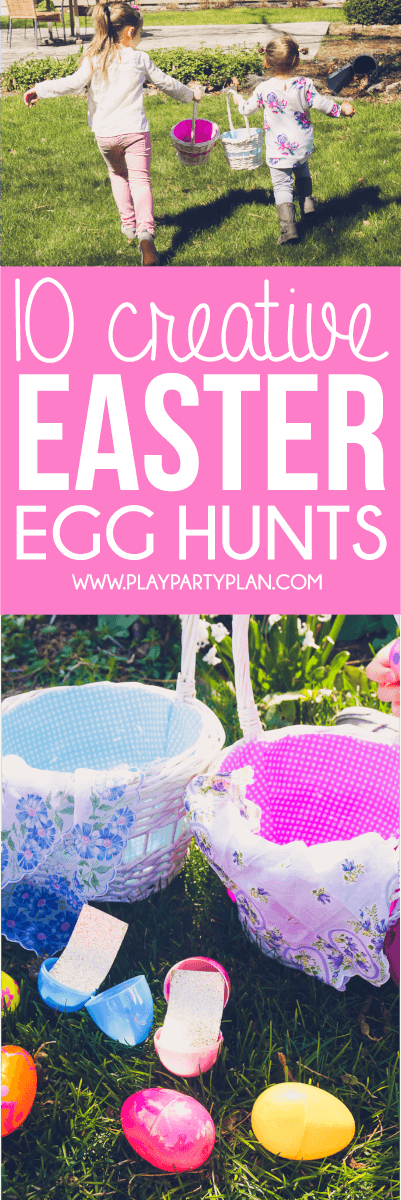 10 fun Easter egg hunt ideas that work for all ages - for older kids, for adults, for teens, for toddlers, or even for babies! Children will love the unique spin on an Easter favorite! I'm definitely trying these for our outdoor church Easter Egg hunt and maybe even for our indoor community one! via @playpartyplan