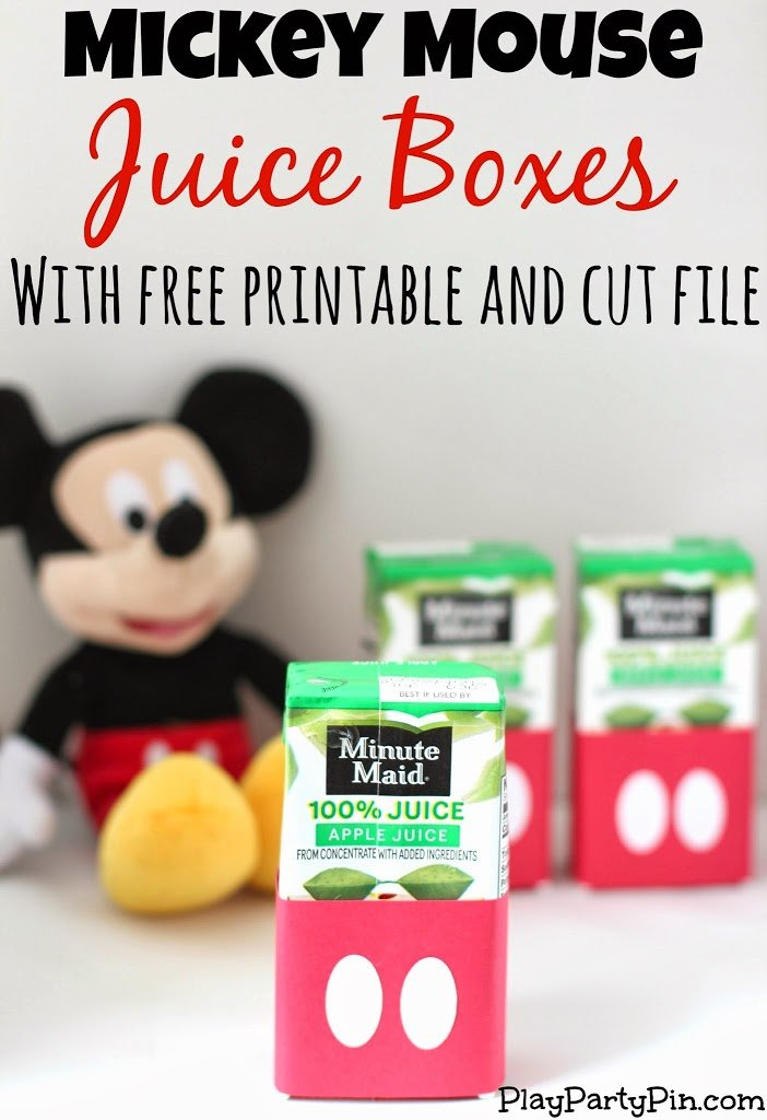Easy DIY Mickey Mouse Juice Boxes with Free Printable and Cut File from playpartyplan.com #MickeyMouse #freeprintable #party