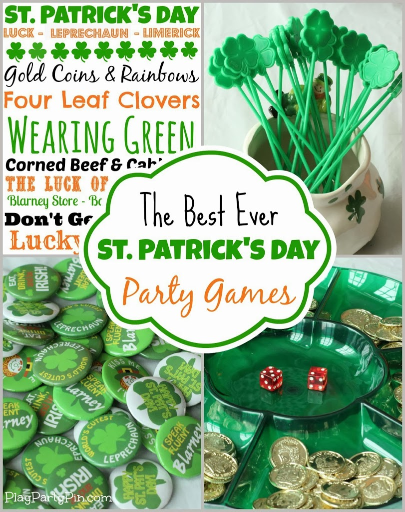 Awesome St. Patrick's Day party games and ideas from playpartypin.com #partygames #StPatricksDay #freeprintables