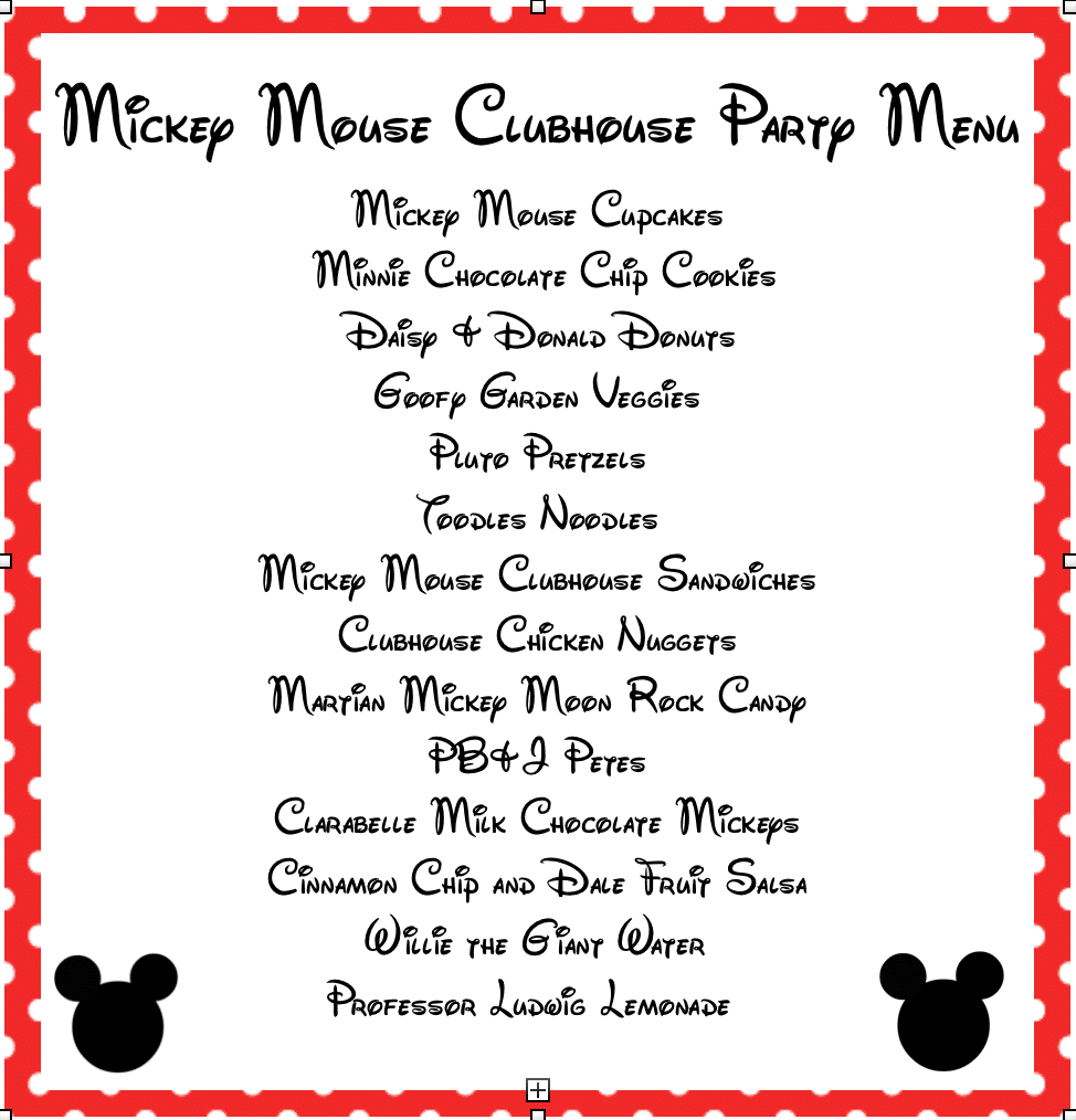 Mickey Mouse Clubhouse Food Menu